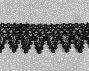 "Black Venice Lace Rayon Half Yard (1/2 yd) 2"" wide grapes wines floral petals trim cute Pinkismart sewing supplies Bridal 10b2"