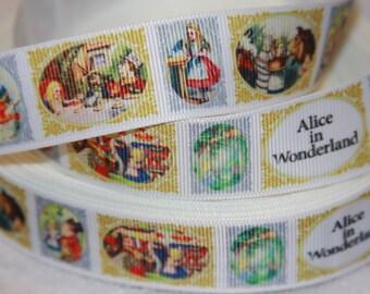 "Alice in Wonderland inspired retro 1"" grosgrain ribbon R324"