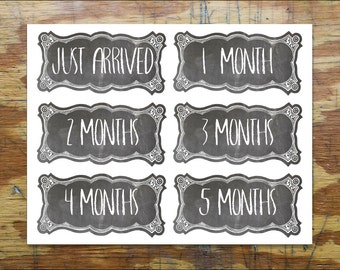 Chalkbox Onesie Stickers. // Chalkboard Baby Month Stickers for Boy or Girl. // Monthly Photo Stickers. // Easy Peel Baby Stickers. //