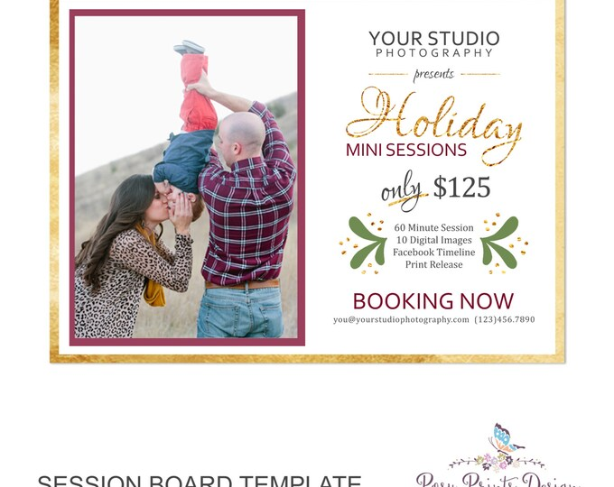 Holiday Session Marketing Board - Template for Photographers - Digital Photoshop Template - 5x7 Photography Design - HMB01