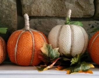 Primitive Burlap Pumpkins Set of Three