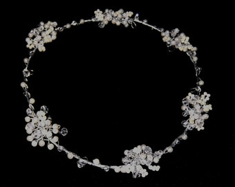 Handcrafted Pearl and Crystal Circlet, Headband available in a range of colours