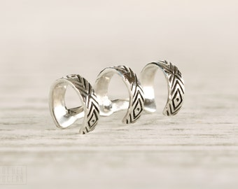 Sterling Silver Ear Cuff Earring Aztec Evil Eye Chevron Ear Wrap Earrings Boho Jewelry - ECU005