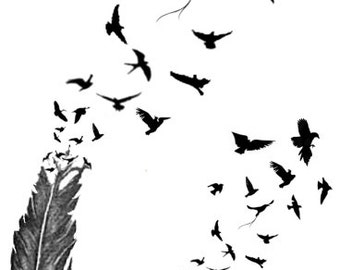 Birds of a Feather Temporary Fake Tattoo Bold Body Art Transfer Waterpoof Fancy Dress