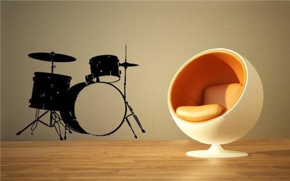 Drum Set Wall Decor : Drum set decal sticker drums decor by