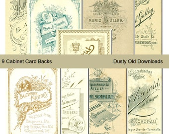 9 Vintage Cabinet Card Backs, Printable Download, Digital Collage Sheets
