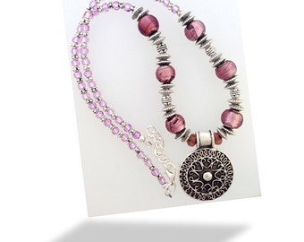 """Beaded necklace with large ethnic pendant - Plum, lilac and silver 18-19"""""""