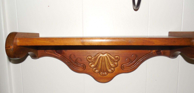 Homco Wood Wall Shelf 17 Wide Carved Shelf With By