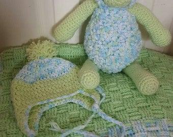 Best friend set: Sheep, baby blanket, baby hat