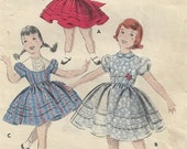 1950's Girls, Corded-Sleeve Dress, Full Skirt, Puffy Sleeves, Sash-tied, Peter Pan Collar, Butterick 8280, Size 3, Vintage Sewing Pattern