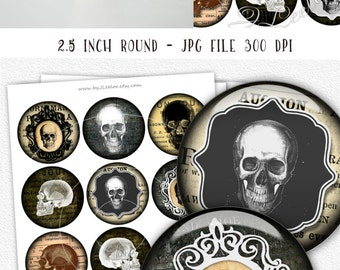Digital images GOTHIC SKULL 2.5 inch circle for scary halloween pocket mirrors cupcake topper scrapbook - Digital collage sheet - tn479