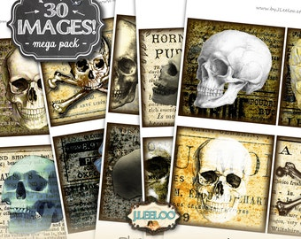 SKULLS 4x4 inch square - printable for coaster jewelry holder hang tags invitations party - instant download digital collage sheet- qu462