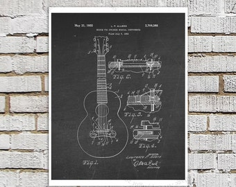 Vintage 1955 Gibson Guitar Bridge Invention Patent. Gibson Chalkboard Print #3, Guitar Patent art poster, Guitar art print Gift for Musician