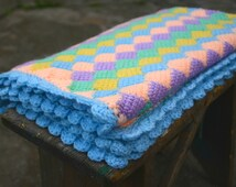 Crochet Baby Blanket, Photography Prop, Babyshower Idea, Travel Blanket, Entrelac, Crib Throw, Light Blue, Mint, Peachy, Knit Baby Blanket