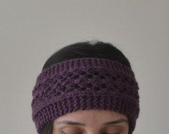 Wool Hand Knit Eggplant Lace Headband, Deep Purple Headband, Wool Headband, Hair Accessories, Ear Warmer, Head Warmer