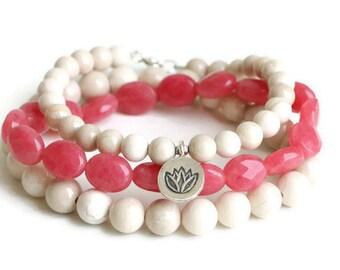Beaded Stretch Bracelet Pink Jade Bracelet Riverstone Bracelet Set  Lotus Charm Yoga Bracelet