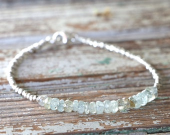 Aquamarine Bracelet With Karen Hill Tribe Silver Beads March Birthstone