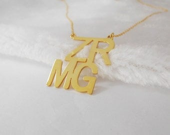 Gold 4 Initials Necklace 1.25  inch ,Gold Initials Necklace,Custom Name Necklace,Personalized Block Necklace