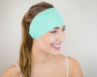 Workout Headband - Yoga Headbands - Fitness Headband - Running Headband - Boho Wide Headband - No Slip - Non Slip - Spandex (Mint)