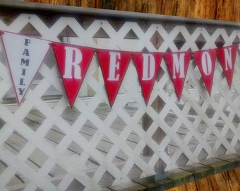 Family Reunion Banner, Last Name Banner, Wedding Name Banner, Family Party Banner, Family Picnic Banner, Red White and Black Banner,
