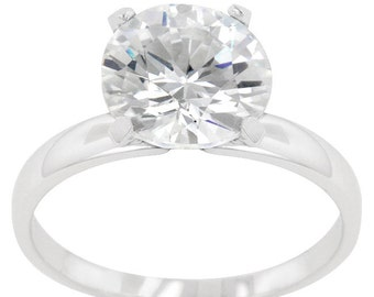 Timeless Solitaire Ring   .925 Sterling Silver Solitaire Engagement Ring with a 3 Carat Round Cut Clear Cubic Zirconia