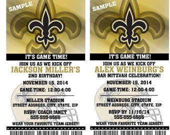 Printable Birthday Party Invitation Card New Orleans Saints Birthday Ticket Invitation Football Weddings Baby Showers Bar Mitzvahs