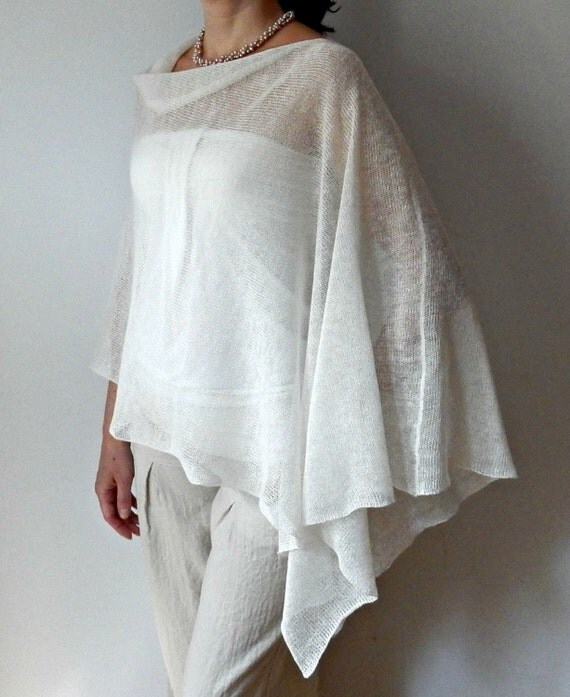 white linen poncho knit poncho cape summer bridal wrap woman. Black Bedroom Furniture Sets. Home Design Ideas