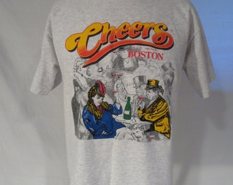 Cheers T Shirt Large Boston Gray NBC TV Vintage 1995 Made in the USA