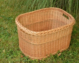 Wicker Laundry Basket, Handwoven Storage Basket, Laundry Hamper Basket, Willow Log Basket, Firewood Basket, Wicker Crate