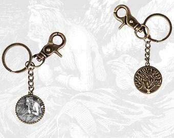Antique style pendant keyring / keychain with the norse god Loki / Loke in Norse mythology - Asatru jewelry