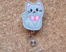 Gray Kitty Cat Badge Reel |  Fun ID Badge Reel |  Felt Badge Reel | Lanyard | Retractable Name Holder | Nurse | Doctor l Teacher | 340