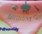 Birthday Girl Dog Bandana with Cake Print, Choice of Colours and Sizes  Sparkle Print