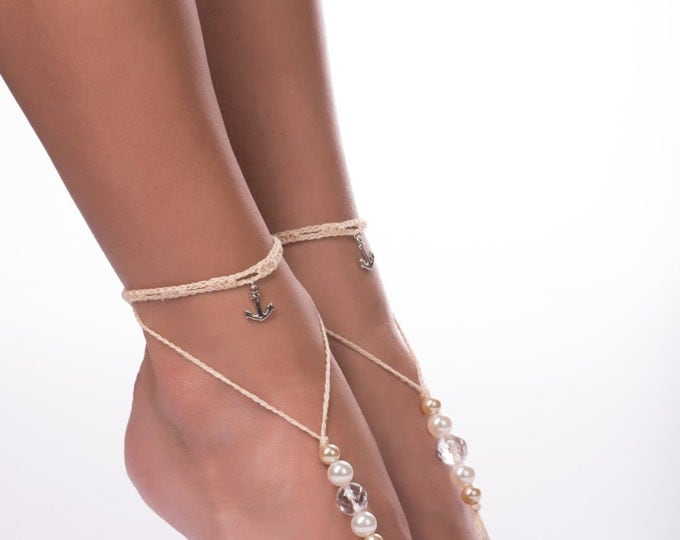 Barefoot sandals/bridal accessory/light beige sandals/anchor anklet/barefoot sandals/Beaded barefoot sandals/barefoot sandals/Wedding