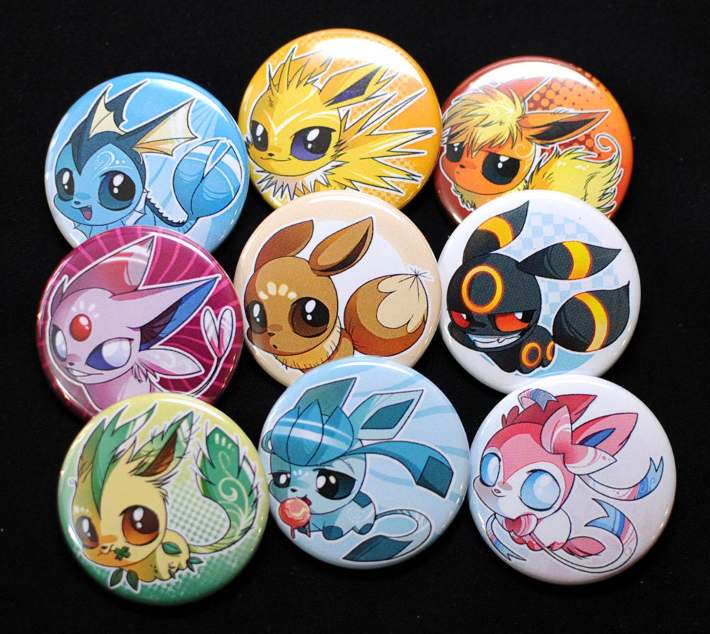 Pack de badges pokemon evolition team evoli for Badge fait maison
