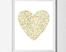 Heart Printable BOGO SALE Digital Nursery Coral Peach Mint Gold Decor Kids Art Print Gold Foil Print Polka Dot Art Print Girls Nursery Art