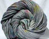 Hand dyed yarn, gray yarn, speckled yarn, multi color yarn, fingering, worsted bulky weight yarn, superwash merino, superwash wool nylon