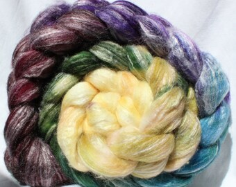 Hand dyed roving, purple / green / yellow  roving, superwash merino wool / bamboo / nylon, spinning fiber, spinning fibre, commercial top