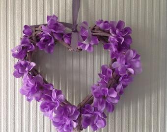 Lilac silk sweet pea wooden heart.