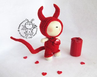 Pebble doll - Halloween Devil Doll . Halloween . Amigurumi Devil Doll