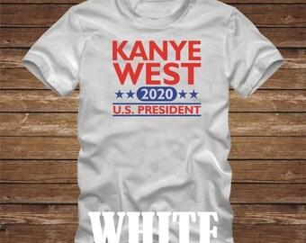 Kanye West 2020 US President T-Shirt President america usa Fun tshirt Election flag republican democrat Presidential -Many Colors-493