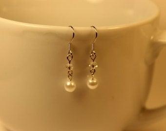 White Pearl and Clear Dangle Earrings
