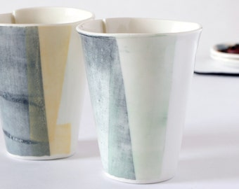 Coffee Cup // Porcelain Tableware // Abstract Silk Screen Decor // Ceramic