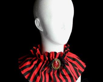 Black and Red Striped Victorian/Lolita Collar