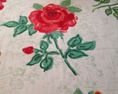 Fabric Panel, Home Decor Square, Sewing, Crafting, Decoration, Pillows, Chair Seat, Mixed Media Art, Red Rose  (S) ok