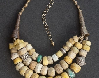 Antique Yellow Hebron and Yoruba Hair Bead Necklace / Old Hebron, Amazonite and Ethnic Silver Tribal Statement Jewelry