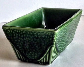 Vintage Pottery, Planter, Made in USA, Green, Kitchen Herb Planter
