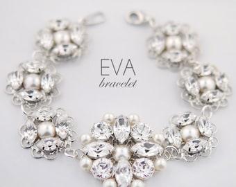 Statement wedding bracelet - bridal bracelet - wedding jewelry - rhinestone and pearl - Swarovski crystal bracelet - Eva bracelet