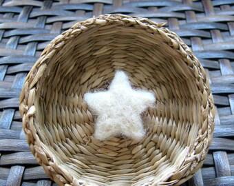 10 Felt Stars, white Merino wool felt stars, felted stars, felt beads, felted beads, handmade felt stars, star beads