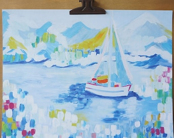 White Sailboat 8X10