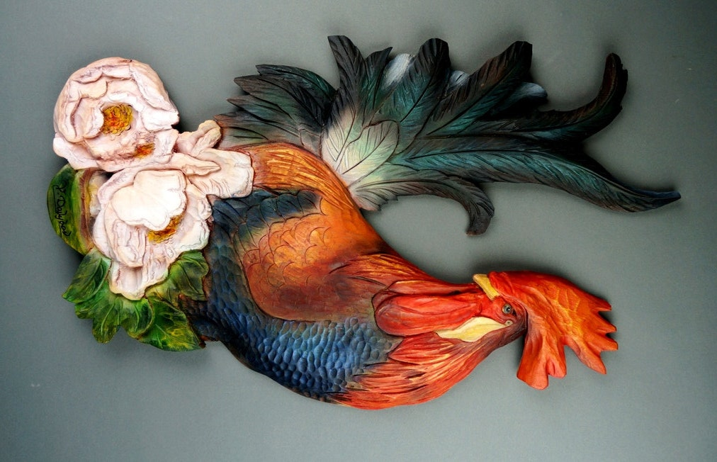 Rooster Carved Of Wood Wall Decoration Made By Hand By